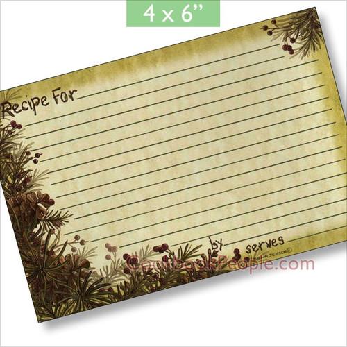 4x6 Pinecones & Berries Recipe Card