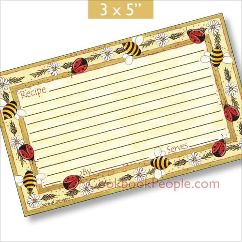 3 x 5 Bugs & Bees Recipe Card