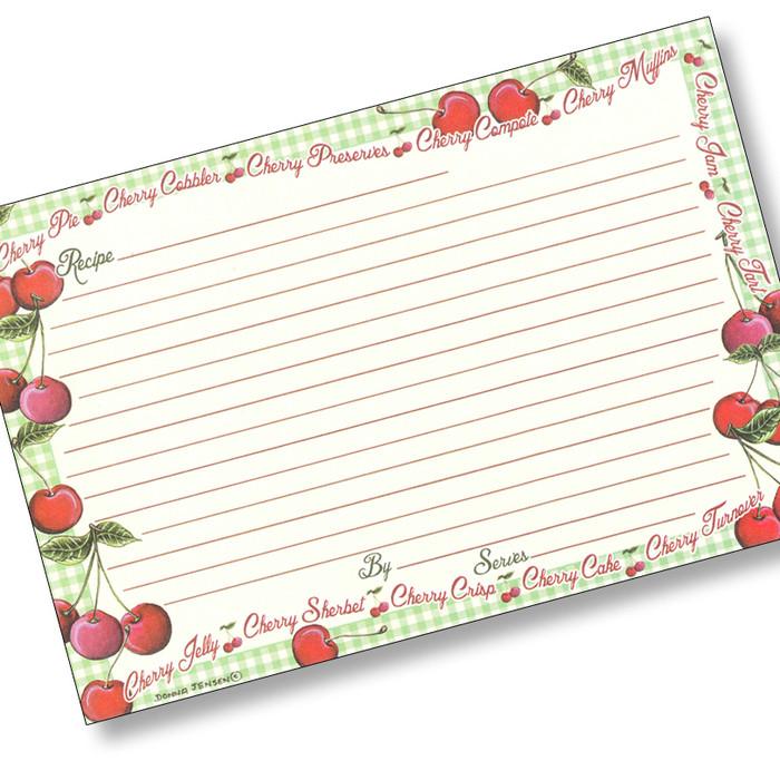4x6 Gingham Cherry Recipe Card
