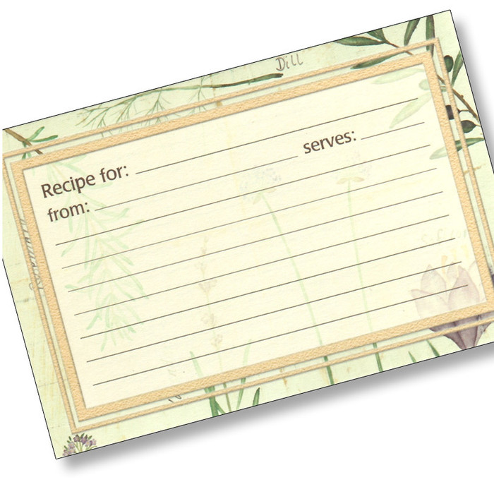 4x6  Recipe Cards - Botanical Treasures - 25 ea