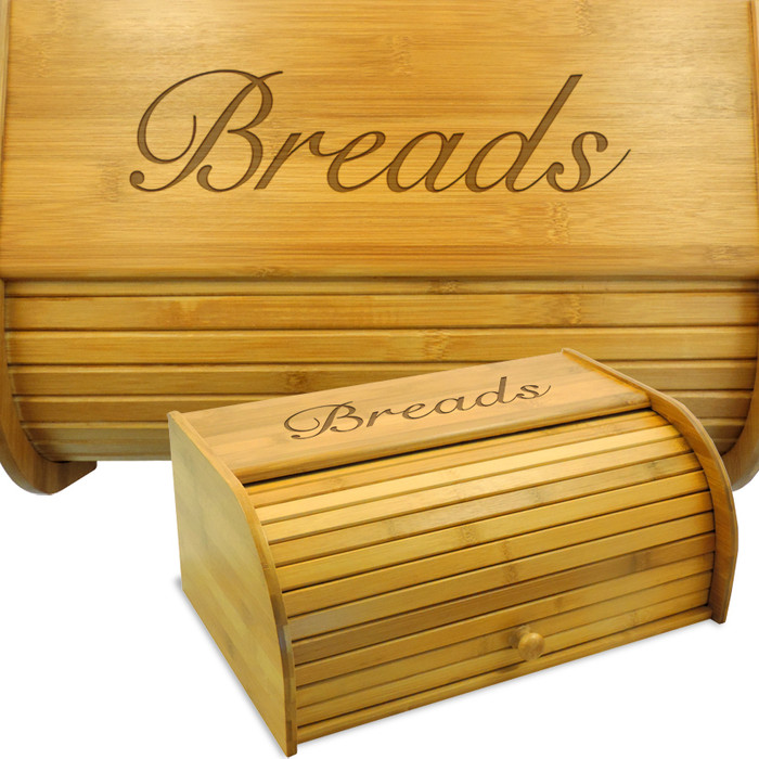 Script Wood Bread Box