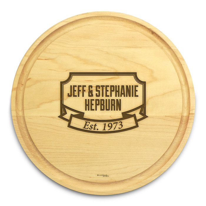 Banner Year 10in Round Engraved Cutting Board with Grooving