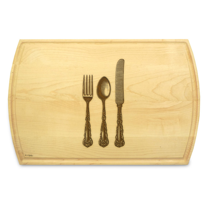 Knife Fork Spoon 10x16 Grooved Custom Cutting Board