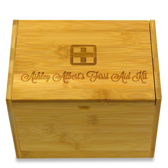 First Aid 4x6 Personalized Box - Cursive