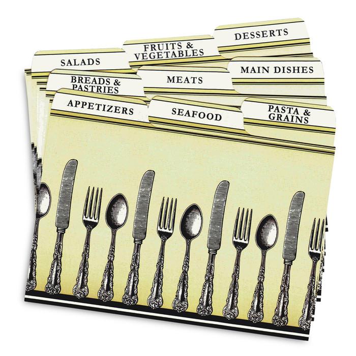 4x6 Tabbed Recipe Card Dividers - Silverware - 9 ea