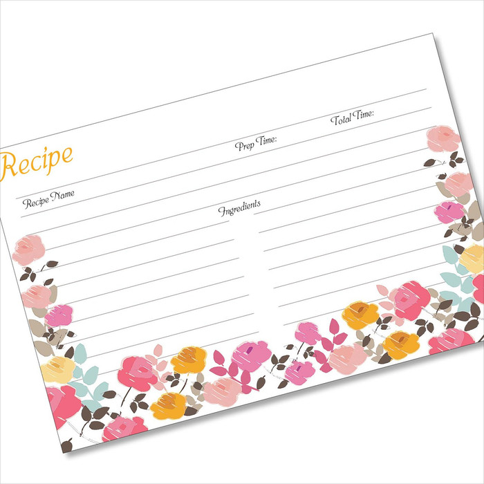4x6 Recipe Card Garden Zoom Pink Gold 40ea