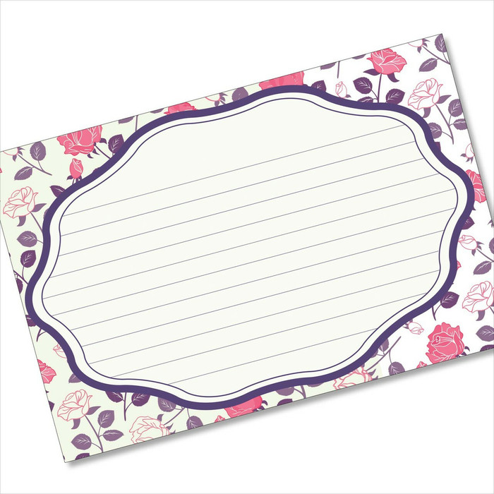 4x6 Recipe Card Rose Pattern White Notecard or Gift Card or  40ea