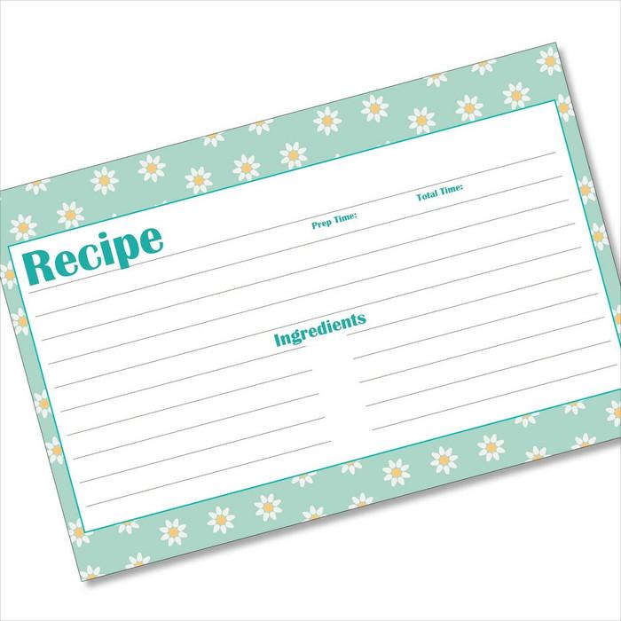 4x6 Recipe Card Polka Daisies Light Blue 40ea