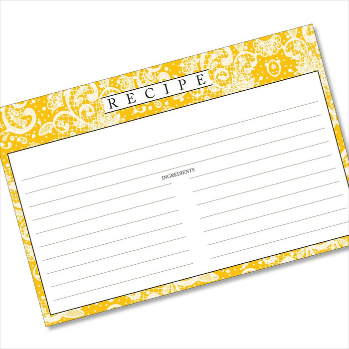 4x6 Recipe Card Lace Settings Ochre Yellow 40ea