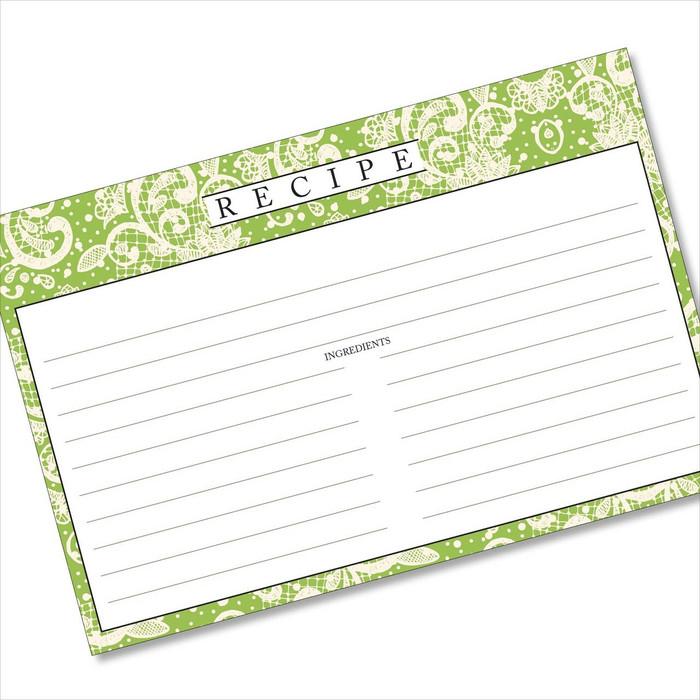 4x6 Recipe Card Lace Settings Avocado Green 40ea
