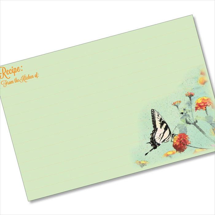 4x6 Recipe Card Butterfly Garden Green 40ea
