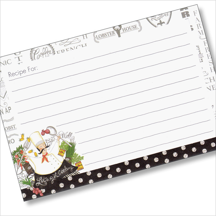 4x6 Recipe Card  - Lets Get Cooking 36ea
