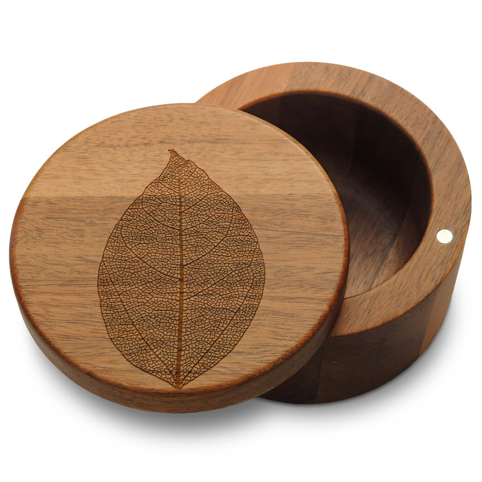 Leaf Acacia Salt Box with Magnetic Swivel Lid