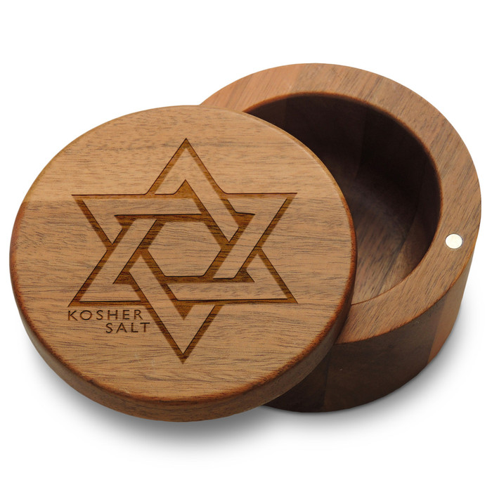 Kosher Salt Box with Magnetic Swivel Lid with Star of David