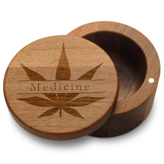 Medicine Marijuana Leaf Wood Organizer Box with Magnetic Swivel Lid