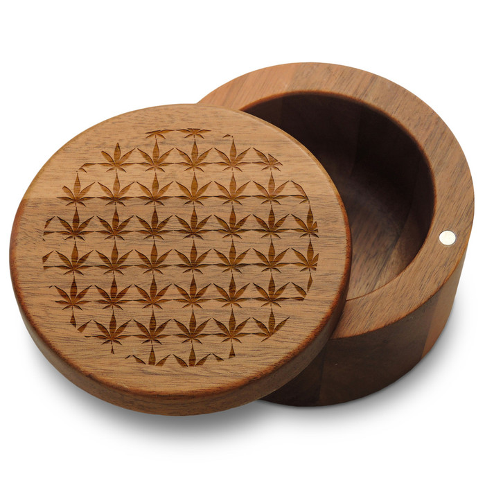 Marijuana Pattern in Circle Box with Magnetic Swivel Lid