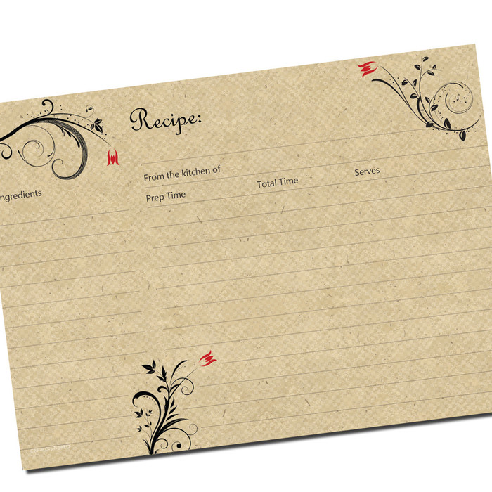 5x7 Large Recipe Card 3 Red Flowers for Full Page Binders 20ea