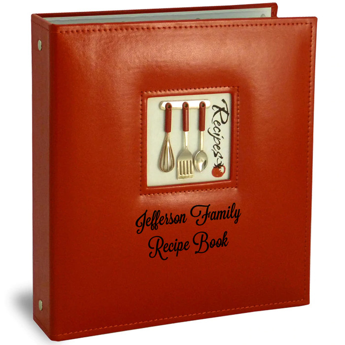 Personalized Half Page Recipe Card Organizer Red Leather-Like A La Carte