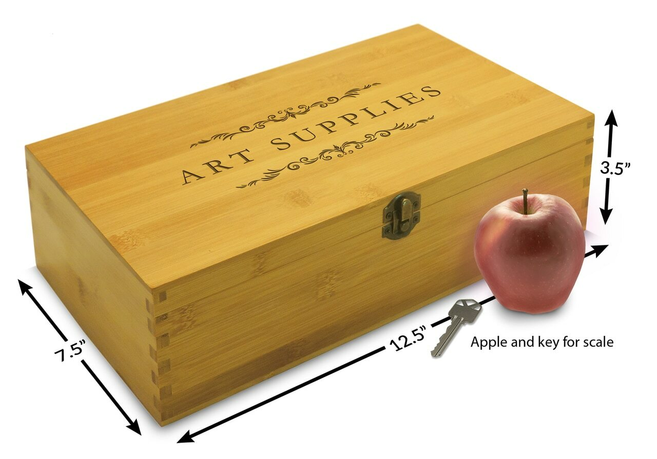 wooden art supplies box adjustable