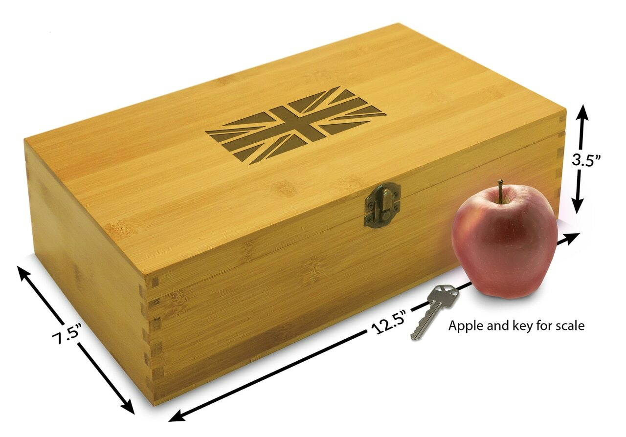 wooden travel memento box with UK flag