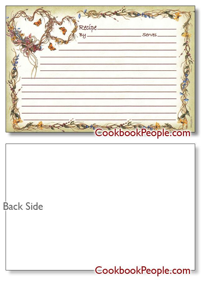 romantic 4x6 recipe card