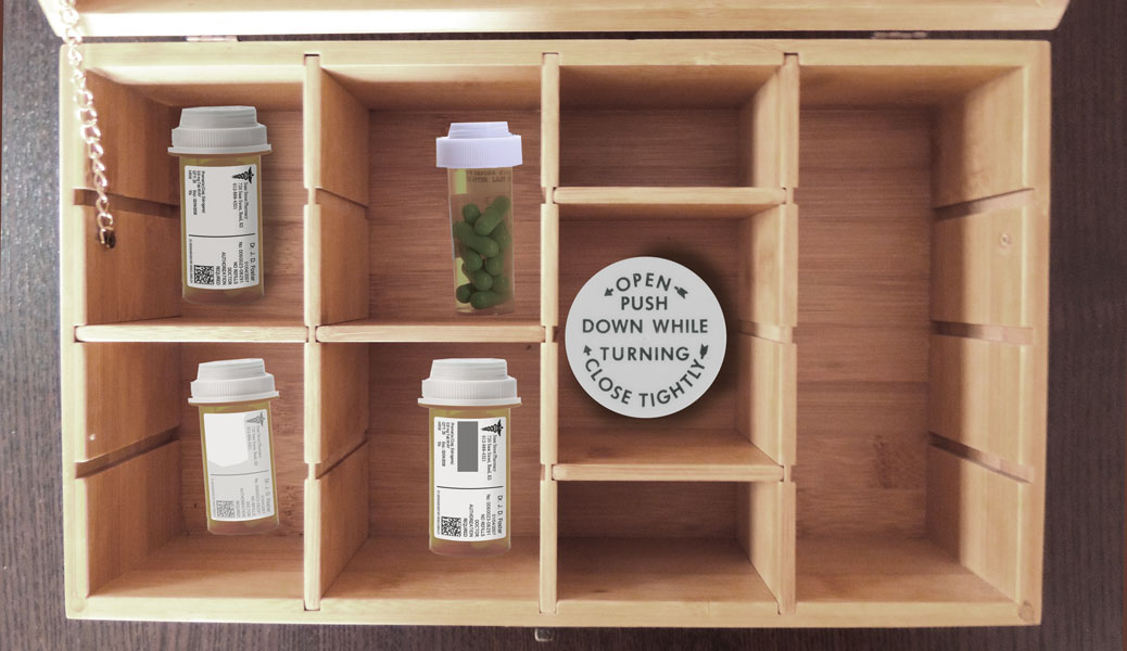 wood medication box