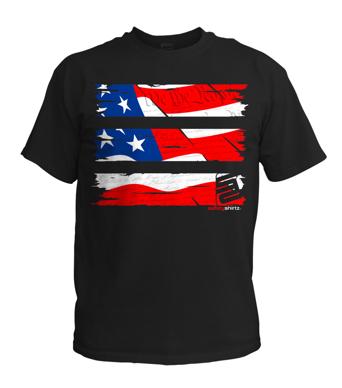 689bd5edf SafetyShirtz - Youth Old Glory Safety Shirt - Red/White/Blue/Black -  Safetyshirtz