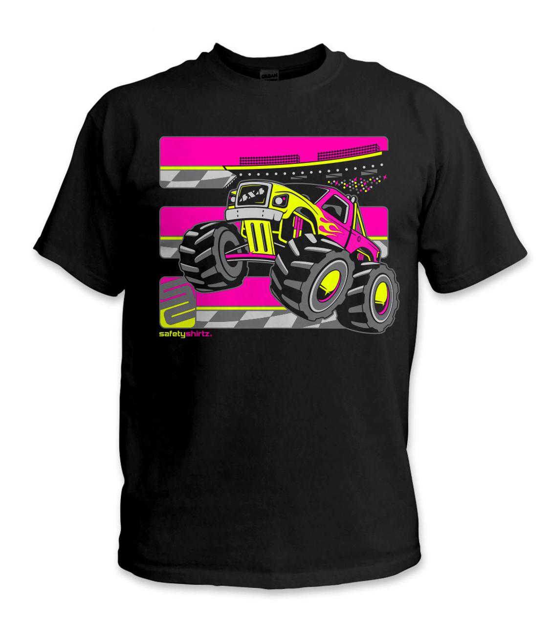 Safetyshirtz Youth Monster Truck Safety Shirt Pink Yellow Black Safetyshirtz