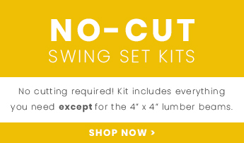 """Shop our no-cut swing sets now - everything is included except 4"""" x 4"""" lumber beams."""