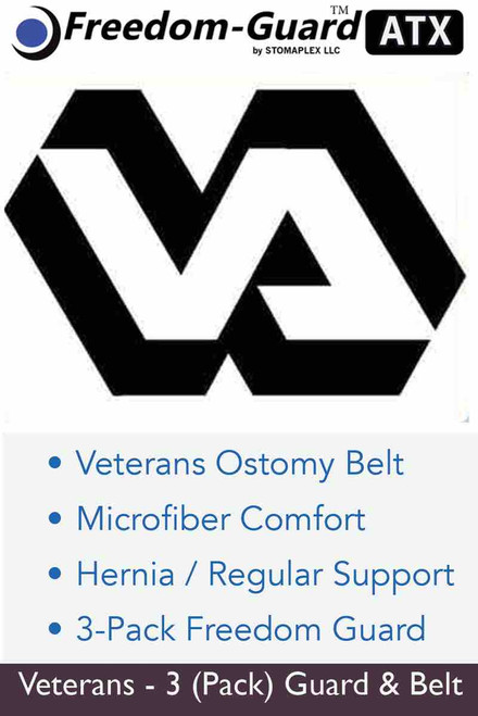 Veterans ostomy belt with stoma guard