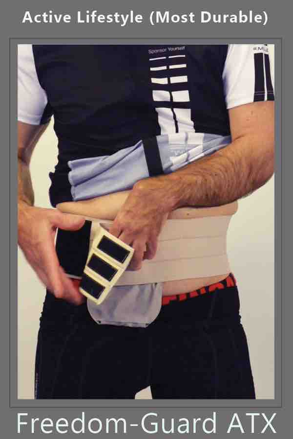 ostomy hernia belt with stoma guard attached for ostomy protection by stomaplex