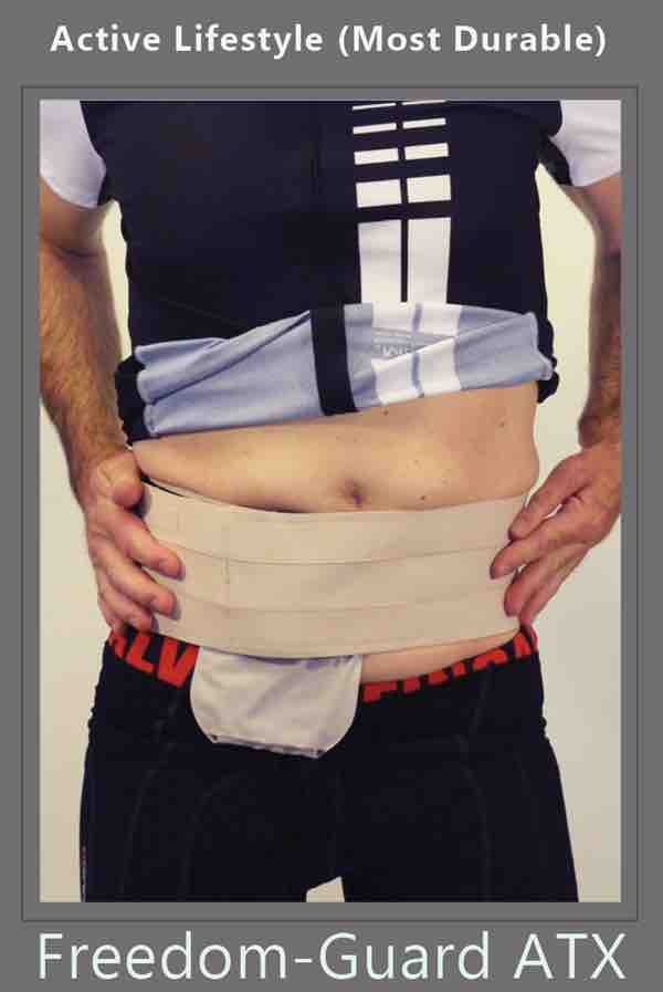 ostomy belt with stoma guard hernia belt attached for ostomy protection by stomaplex