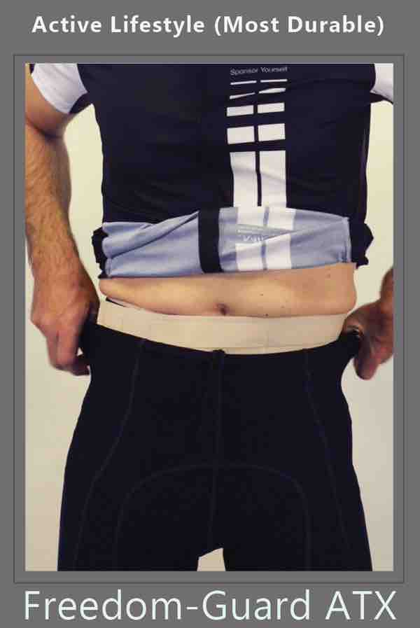 ostomy belt with stoma guard attached for ostomy protection by stomaplex hernia belt