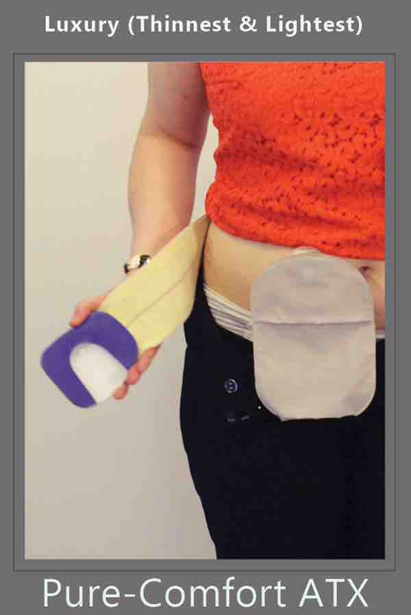 she wraps the ostomy belt with stoma guard attached over her panties by stomaplex