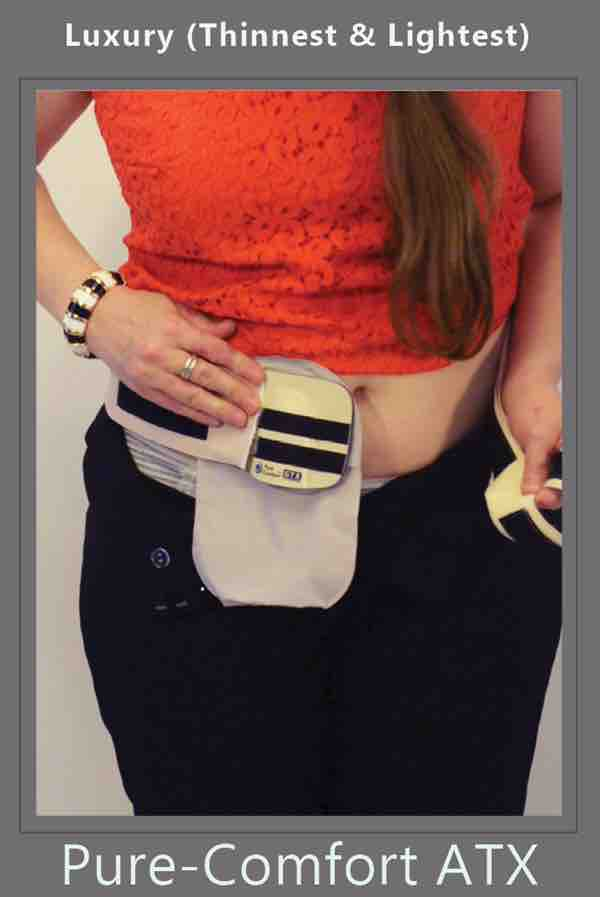 for ostomy protection she presses the ostomy belt over her panties by stomaplex