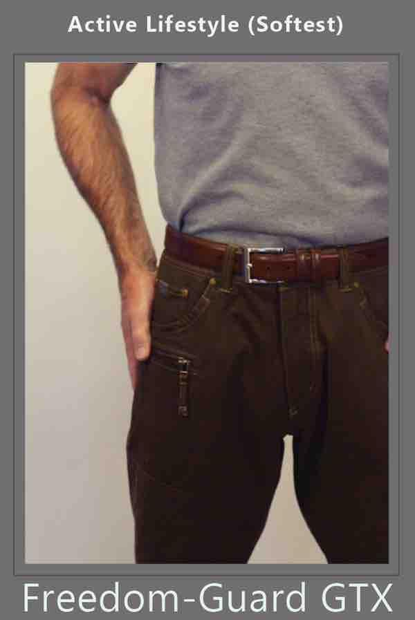 ileostomy bag and ostomy belt is well hidden beneath his pants