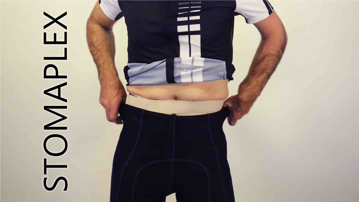 man in bike shorts with ileostomy and parastomal hernia support belt by stomaplex