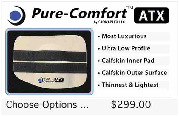 ostomy belt, The Pure Comfort is the thinnest and most comfortable stoma guard. Inside there is a padding made with leather. This stoma guard is the lightest in weight offered by Stomaplex.