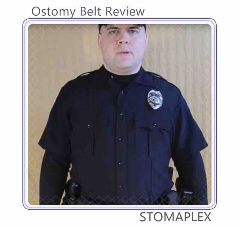 Police man reviews the stoma protector from Stomaplex.
