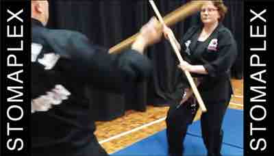 during martial arts practice she protects her stoma with a stoma guard by stomaplex
