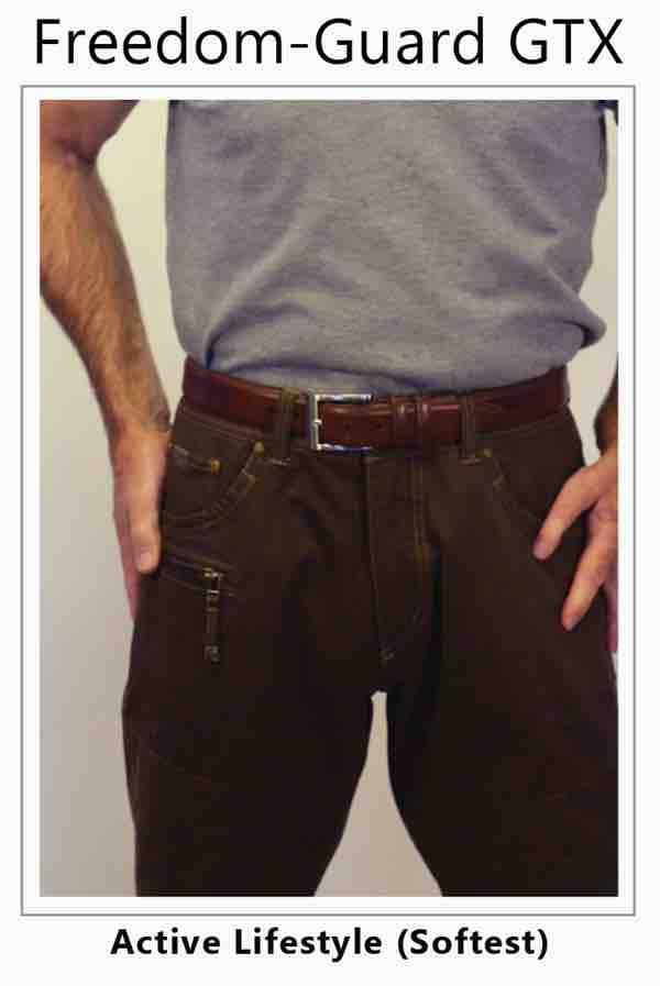 Man in jeans tightens his belt over his ileostomy, ostomy sports men