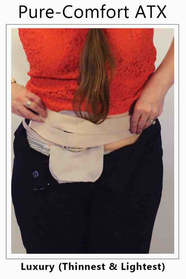 Women with ileostomy lowers her pants to show panties and stoma guard with ostomy belt