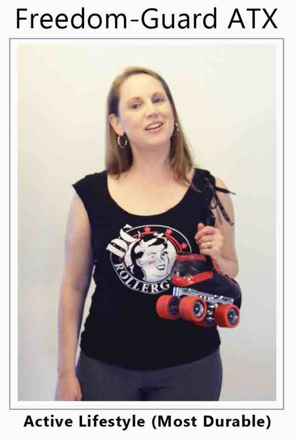 Women with ileostomy has stoma guard under her yoga pants and is ready to go roller skating, ostomy sports women