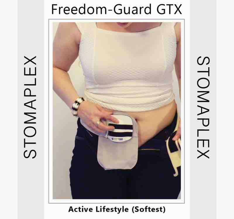 A stoma guard on a women