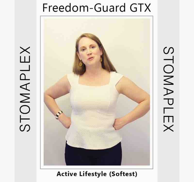 She is ready to get to the office with an ostomy guard