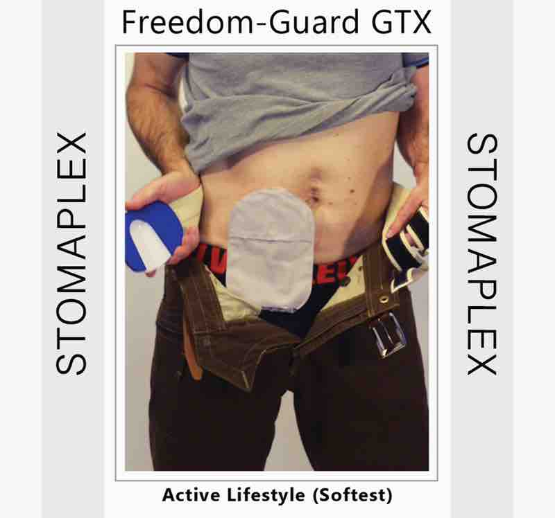 Hold the stoma guard in your right hand for an ileostomy