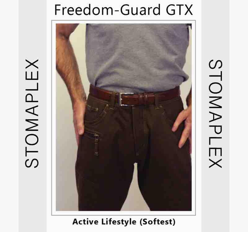 Man show ileostomy bag by lifting shirt and ostomy belt
