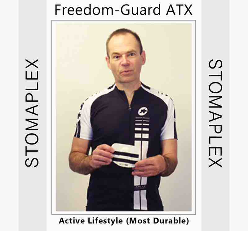 have a look at this stoma guard for sports