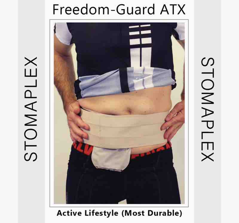 Parastomal belt for men with a stoma guard