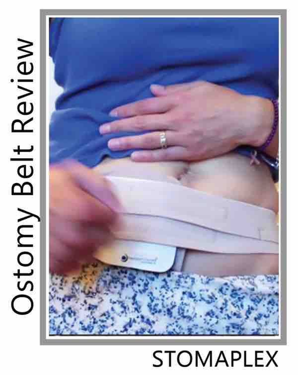 with her pants pulled down she lets us see her ileostomy stoma guard, this ostomy protection allows her to hit her stoma with her fist.